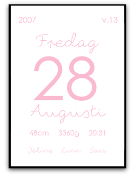 Namn & födelsebild - Rosa - A4 matt fotopapper