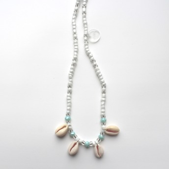 Långt halsband - Långt halsband turkost/snäckor
