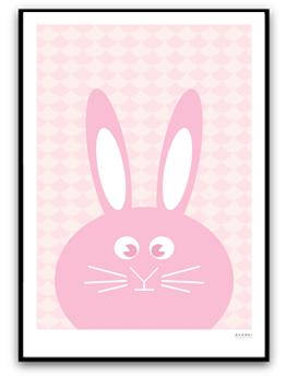 Rosa kanin med mönster - A4 matt fotopapper
