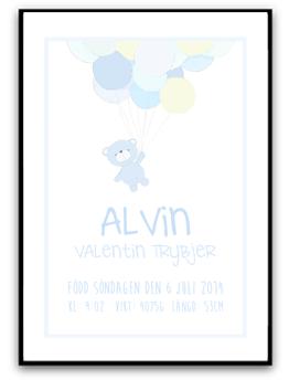 Namn & Födelsebild - Blå nalle - A4 200g matt fotopapper