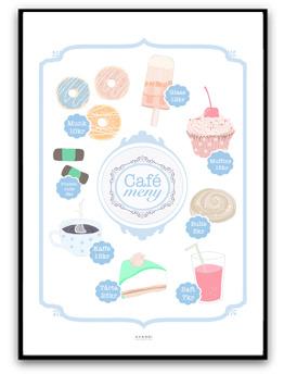 Café Meny - Blå A4 matt fotopapper