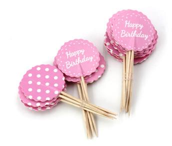 Happy Birthday dekoration - Rosa