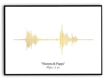 Ljudvågor - Guld, silver eller svart - A4 Guld 220g matt fotopapper