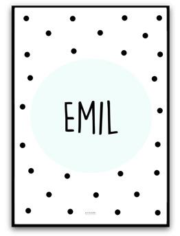 Namnbild - Mint/svart - A4 matt fotopapper