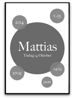 Namn & födelsebild - Mörkgrå - A4 matt fotopapper