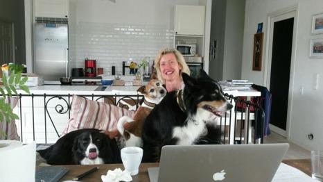 Helène tillsammans med sitt härliga hundgäng i den fantastiskt fina kökssoffan i form av en dagbädd!
