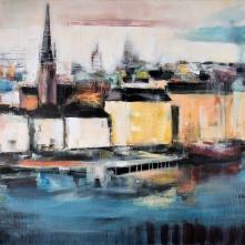 "©Karin Holmström ""Riddarholmen över söder"" Acrylic 150x100cm, available as Giclée Fine Art. Was shown on TV4 during 2016"