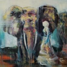 """©Karin Holmström """"Walking with elephant"""" Acrylic 100x100cm available as Giclée Fine Art"""