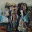 GICLÉE ELEFANTER - Walking with elephant