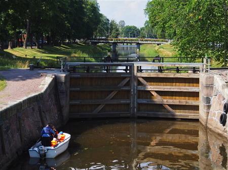 Slussen i Pråmkanalen - foto Peter Labraaten.
