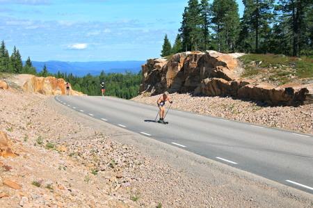 Elitskidåkare använder den långa och branta vägen upp till Hovfjället under sommarträningen.