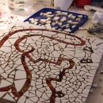 Mosaik under arbete