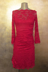 Olvis' Lace Décolletage Dress | Red​  (Please contact boutique to order)