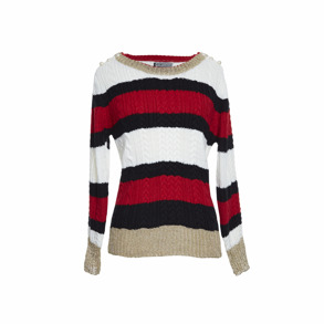 Paris Picked Mariniere Sweater With Pearls - One size