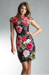 Basix Black Label Flower Embroidered Velvet Dress