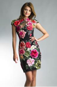 Basix Black Label Flower Embroidered Velvet Dress - EU 40