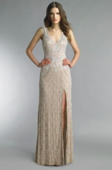 Basix Black Label Embroidered Gown | Beige