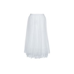 Paris Picked Long Pleat Skirt With Lace - One size