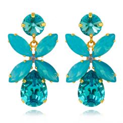 Caroline Svedbom Dione Drop Earrings | Light Turquoise + Caribbean Blue Opal & Gold