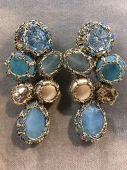 Boks &  Baum Earrings Clips | Light Blue & Beige