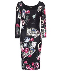 Roberto Cavalli Cards Printed Long-sleeved Dress