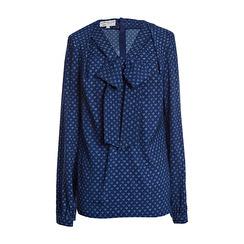 Maison Common Long-sleeve Heart Print Bow Blouse | Navy Light Blue