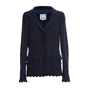 Maison Common Feminine Blazer With Bow | navy (please contact boutique to order in another size) - 38