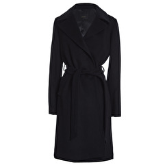 SAKI Sweden Ophelia Classic Wool Coat With Belt | black