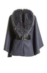 Marita Huurinainen Ilmatar Wool Cape   blue
