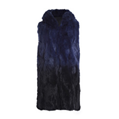 Tavus Milano Long Vest With Hood   degrade blue to black
