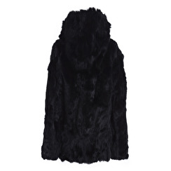 Tavus Milano Long Fur Jacket With Hood   black