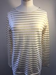 Majestic Boatneck Deluxe Stripe Teeshirt | white & gold
