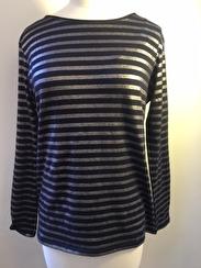 Majestic Boatneck Deluxe Stripe Teeshirt | navy & silver