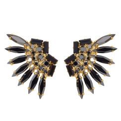 Caroline Svedbom Indian Feather Earrings | jet + hematite