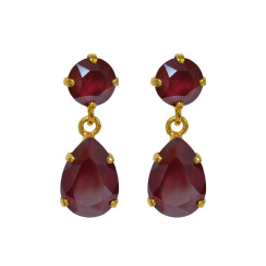 Caroline Svedbom Mini Drop Earrings | dark red