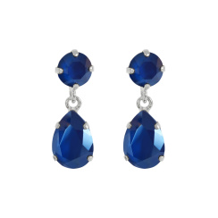 Caroline Svedbom Mini Drop Earrings | royal blue & rhodium