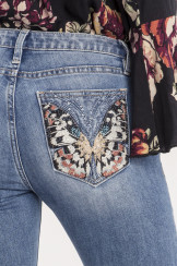 Miss Me Float Like a Butterfly Mid-rise Ankle Skinny Jeans | faded blue (M8977AK)
