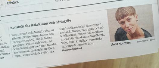 Konstnären Linda Nordfors ska leda Kultur och Näringsliv, DN Ekonomi 2017-06-14.
