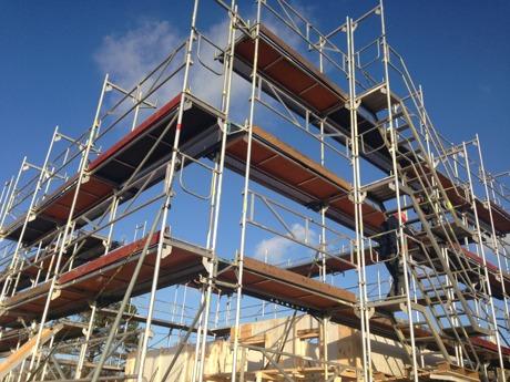 Byggnadsställning i Torslanda