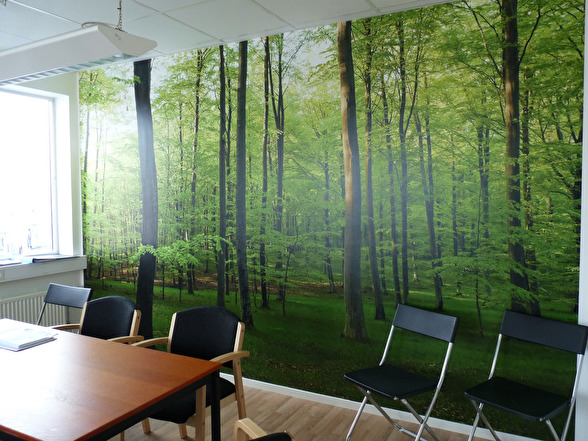 Lövskogens skira grönska sätter stämningen i det här kontorsrummet