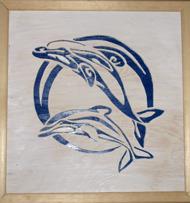 Halländskt hantverk Tavla med blå delfiner mot vit botten