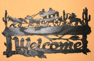 Halländskt hantverk Welcome Western motiv i trä Svart målad Lackad ca 28x42 cm