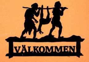 Halländskt hantverk Välkomst skylt med stenålders motiv Jakt Efter kunds önskan Svart målad ca 28x42 cm