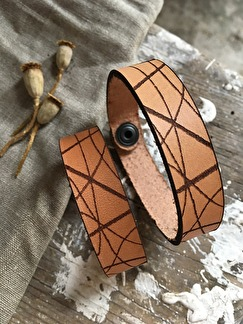 Läderarmband Stripe - Dam S