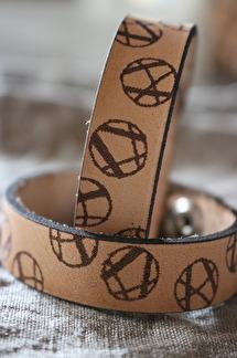 Läderarmband Striped - Dam S