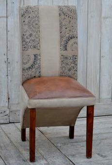 2-pack matstol i canvas och skinn