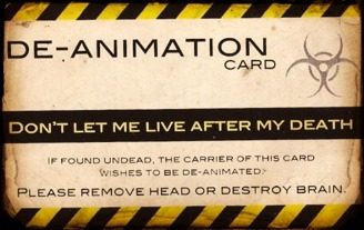 Front of De-animation Card.