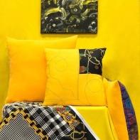 Yellow combination, pillows, art & quilt