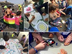Lek och stoj för flyktingbarnen ger en kort stunds lättnad för pressade föräldrar.