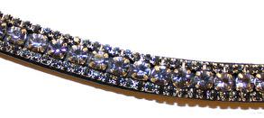 Pannband - Pannband Grå/Lila svart läder